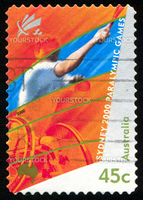 AUSTRALIA - CIRCA 2000: stamp printed by Australia, shows 2000 Paralympics, Sydney, Wheelchair tennis, circa 2000