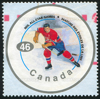 CANADA - CIRCA 2000: stamp printed by Canada, shows hockey player, circa 2000