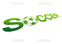 High resolution perspective graphic of the word soccer with a ball.