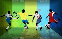 Football players on abstract background, vector illustration