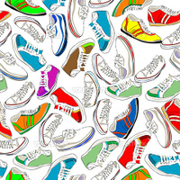 Seamless pattern with sport shoes, snikers on white background