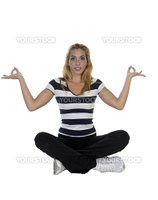 lady performing yoga sitting in lotus pose isolated with white background