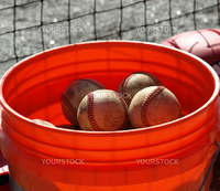a closeup view of an orange ball bucket