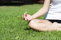 young woman is engaged in yoga, in summer on a green grass