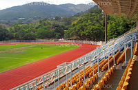 landscape of Coach and reserve benches with seats in football stadium
