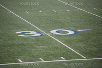 Thirty yards of the mark on the field for the game of American football.