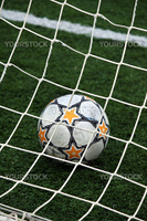 View of a soccer ball inside the goalpost on the grass.