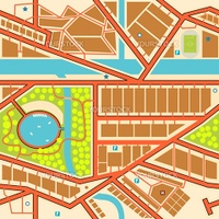 Editable seamless tile of a generic city map