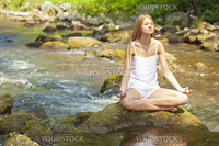 Woman Yoga Meditation Nature Water River