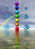 chakra and aum and rainbow