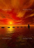 steps and buddha and sun