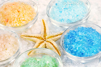 Five colors of bath salt for relaxing bath