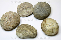 Five elements of life engrave in Zen stone