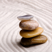 A tower of stones in a zen rock garden