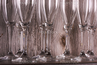 Champagne Flutes on Shelf Abstract