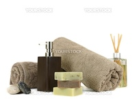 Assorted spa treatment products isolated against a white background