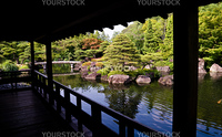View from a verandah of a traditional japanese garden in Kyoto, Japan.