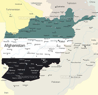 Vector map of Afghanistan country colored by national flag