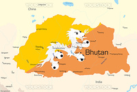 Vector map of Bhutan country colored by national flag
