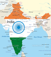 Vector map of India country colored by national flag