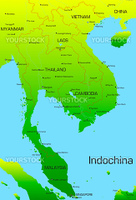Vector map of Indochina countries