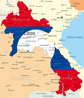 Vector map of Laos country colored by national flag