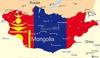 Vector map of Mongolia country colored by national flag