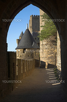 Carcassonne castle in France - view through arch
