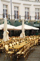 Empty restaurant patio in Vannes, Brittany, France