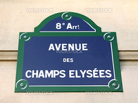 Signpost of the Champs Elysees in Paris