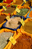 Assorted spices for sale on french farmers market in Perigueux, France