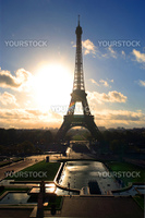 The Eiffel Tower in Paris, France in the morning as the sun rises.