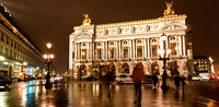 the famous grand Opera at a rainy night in Paris France