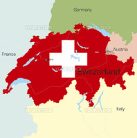Abstract vector color map of Switzerland country coloured by national flag