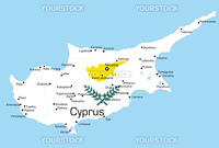 Abstract vector color map of Cyprus country colored by national flag