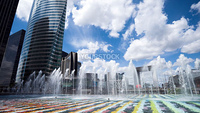 View of fountains in La Defence district, Paris