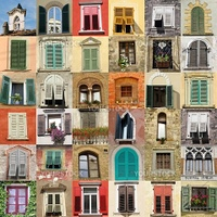 collage with retro windows from Italy
