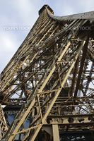 Wide-angle view of Eiffel Tower, Paris, France, from below showing details of iron structure against blue sky