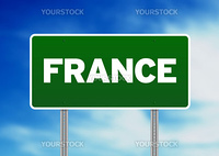 Green France highway sign on Cloud Background.