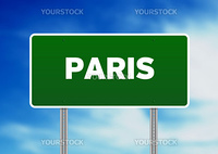 High resolution graphic of a Paris highway sign on Cloud Background.
