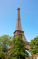 View of the Eiffel tower with trees and nice blue sky