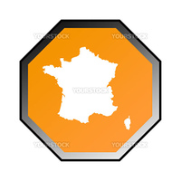 France road sign isolated on a white background.