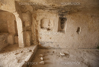 Ancient town of Matera - Sassi - has gained international fame. It is one of the first human settlements in Italy. The Sassi are houses dug into the calcareous rock itself. Basilicata - Italy.