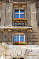 Window with flowers in Austria - European architecture