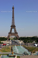 General view of exterior of Eiffel tower in Paris, France.