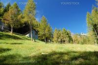 summer alpine village landscape, Antigorio Valley, Italy
