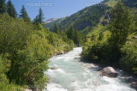 stream in Ferret valley on summer Courmayeur, Italy