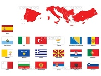 A vector set  flags and map of 19 southern Europe countries isolated on a white background