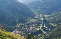 aerial view of Courmayeur, famous small town in Aosta valley, Italy
