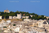 Castle rocks and the beautiful town of Matera in Italy